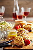 Grilled, marinated chicken legs with pineapple coleslaw