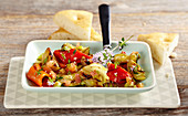 Marinated gilled vegetables with unleavened bread