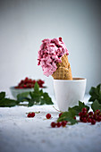 Vegan redcurrant ice cream in a cone