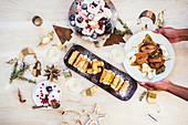 Serving Christmas Desserts