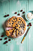 Almond and fresh cherry tart