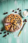 Almond and fresh cherry tart