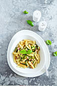 Dont waste - scraps of mixed pasta with zucchini aromatic herbs and bacon