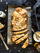 Yeast bread with almond flakes