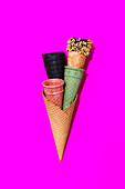 Multiple different cones for ice cream.