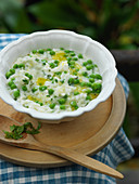 Pea risotto with mint