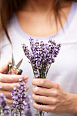 Frau hält Lavendelblüten in der Hand