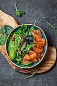 Avocado, smoked salmon and baby spinach salad