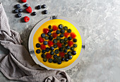 Cheesecake with blueberry and rasberry, lemon jelly