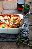 Vegan chard lasagne with substitute cheese