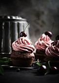 Vegan chocolate cupcakes topped with cherry butter cream frosting