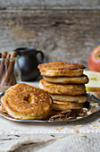Battered apple rings with cinnamon and sugar