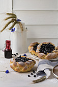 Yeast dough pastries with blueberries
