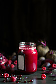 A jar of raspberry and beetroot jam
