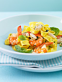 Tagliatelle aglio olio with prawns and beans