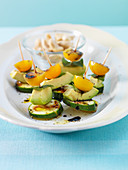 Courgette and avocado skewers