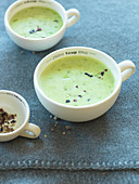 Cups of wild garlic soup