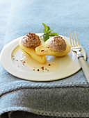 Poached pears filled with a chestnut cream