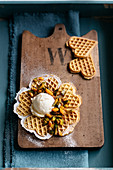 Pumpkin waffles with vanilla ice cream and caramelised pumpkin