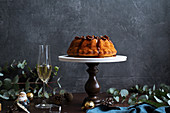 Festive bundt cake with dates and salted caramel