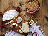 A cheese plate with homemade wholegrain crackers