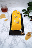 Semi-freddo honey mousse decorated with bees