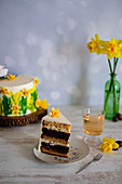 A mini Easter cake with peach liqueur and an Easter lamb