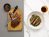 Grilled beef steak with grape barley