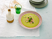 Creamy pea soup with boiled ham
