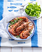 Marinated oven-roasted prawns