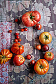 An arrangement of tomatoes on floral-patterned fabric