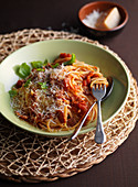 Spaghetti with bacon tomato sauce