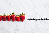 Strawberries and blueberries in row, studio shot