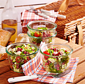 Salami and cheese salad for a picnic