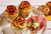 Carrot buns baked in jars with butter