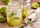 Mojito punch in a screw-top jar to take away