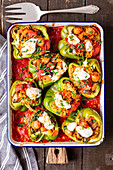 Peppers stuffed with couscous and sausage