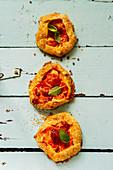 Mozzarella cheese and tomato galette