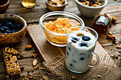 Healthy breakfast variety - Cereals with fruit and yogurt