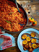 Smoky spiced Jollof rice & coconut-fried plantain