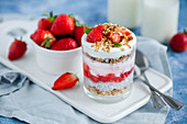 Chia pudding with strawberries and Croatian domestic muesli