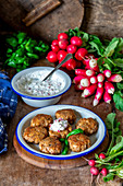 Radish sauce (made with cottagbe cheese and cream) chicken meatballs