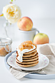 Small pancakes with greek yogurt and apple compot