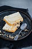 Caramel, peanut and white chocolate semifreddo