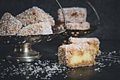 Lamingtons – coconut sponge cakes