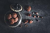 Chocolate hazelnut biscuits with chocolate spread cream