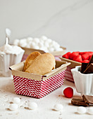 Holiday cookie baskets - with ladyfinger cookies, peppermint and marshmallow candies, marshmallow icing and chocolate