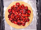 Raw strawberry pie galette cake