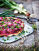 Vegetable cake with spring onion and beetroot