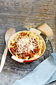 Pasta with bolognaise and grated cheese